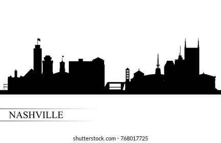 Nashville city skyline silhouette background, vector illustration