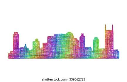 Nashville city skyline silhouette - multicolor line art