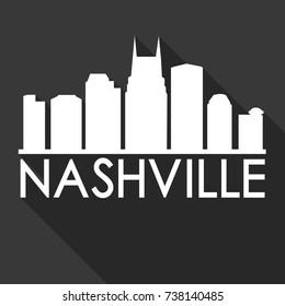 Nashville Flat Icon Skyline Silhouette Design City Vector Art Famous Buildings