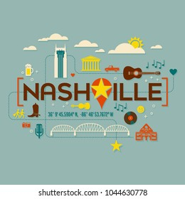 Nashville landmarks, attractions and text design with longitude and latitude. Flat icon style. For t-shirts, cards, banners, and posters.