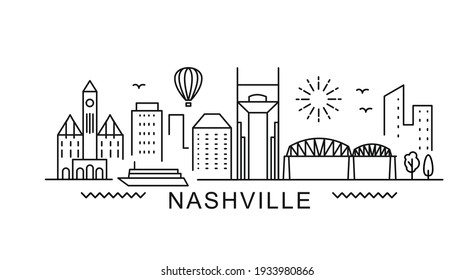 Nashville minimal style City Outline Skyline with Typographic. Vector cityscape with famous landmarks. Illustration for prints on bags, posters, cards.