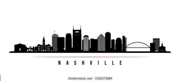 Nashville skyline horizontal banner. Black and white silhouette of Nashville, Tennessee. Vector template for your design.