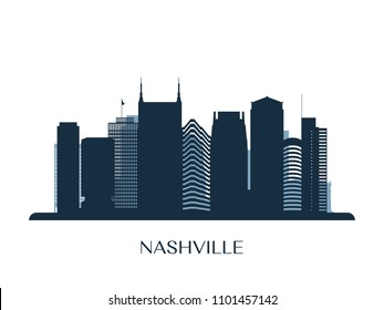 Nashville skyline, monochrome silhouette. Vector illustration.