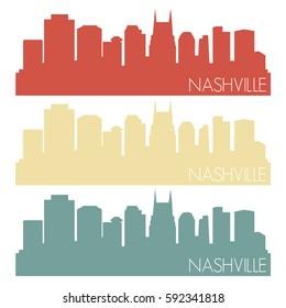 Nashville Skyline Silhouette City Stamp Vector Set Color Vintage