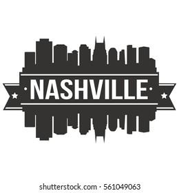 Nashville Skyline Stamp Silhouette