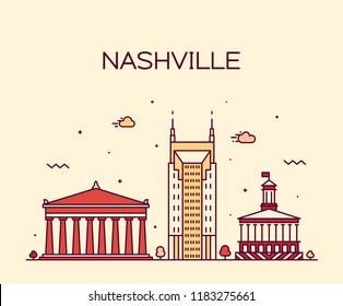 Nashville skyline, Tennessee, USA. Trendy vector illustration, linear style