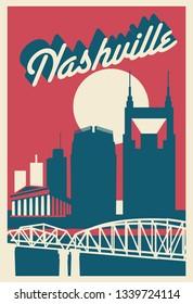Nashville Tennesse skyline postcard