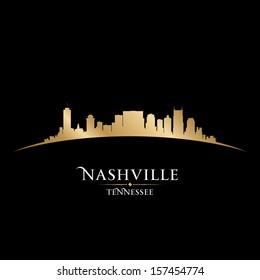 Nashville Tennessee city skyline silhouette. Vector illustration