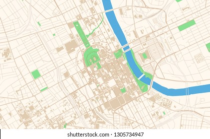Nashville Tennessee printable map excerpt. This vector streetmap of downtown Nashville is made for infographic and print projects.