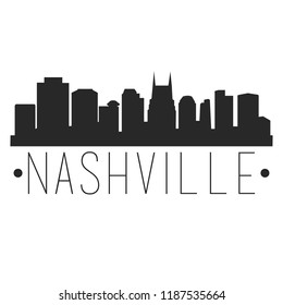 Nashville Tennessee Skyline Silhouette City Design Vector Famous Monuments