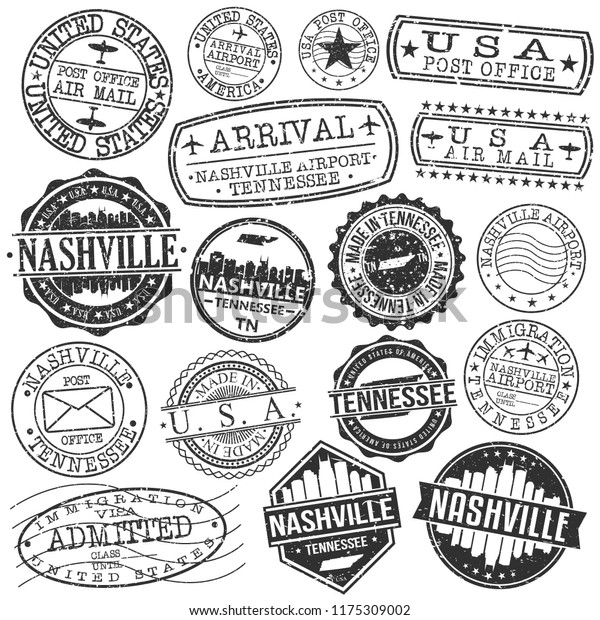 Nashville Tennessee Stamp Vector Art Postal Passport Travel Design Set