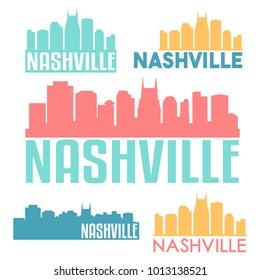 Nashville Tennessee USA Flat Icon Skyline Silhouette Design City Vector Art Famous Buildings Color Set