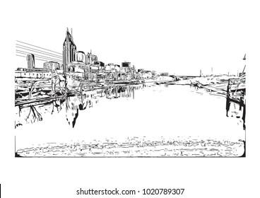 Nashville, Tennessee, USA. Hand drawn sketch illustration in vector.