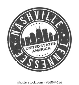 Nashville Tennessee USA Stamp Logo Icon Symbol Design Skyline City