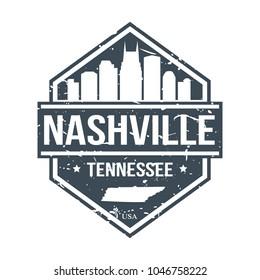 Nashville Tennessee USA Travel Stamp Icon Skyline City Design