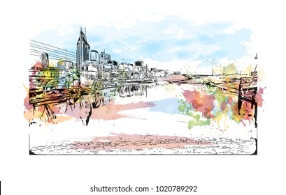 Nashville, Tennessee,USA. Watercolor splash with hand drawn sketch illustration in vector.
