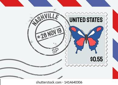 Nashville TN postage stamp - American post stamp on a letter.