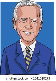 Nashville, TN, United States, October 22 2020. Cartoon style of smile Joe Biden, democratic candidate for US 2020 presidential election - Vector Illustration.