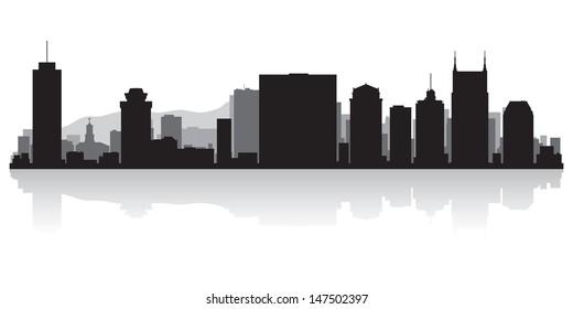 Nashville USA city skyline silhouette vector illustration