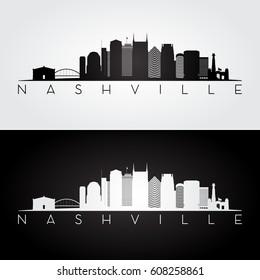 Nashville USA skyline and landmarks silhouette, black and white design, vector illustration.