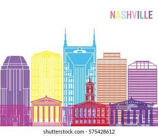 Nashville V2 skyline pop in editable vector file
