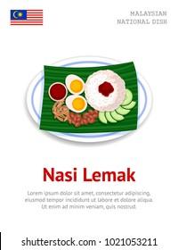 Nasi Lemak. Traditional malaysian dish. View from above. Vector flat illustration.