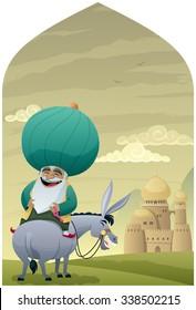 Nasreddin Hodja 2: Cartoon of Nasreddin Hodja on his donkey.