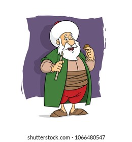 Nasreddin Hodja illustration cartoon character design