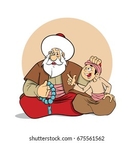 Nasreddin Hodja with kid character illustration