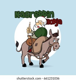 Nasreddin Hodja riding his donkey, vector character illustration