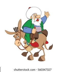Nasrreddin Hodja character illustration with his donkey