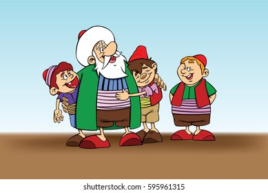 Nasrreddin Hodja character illustration with kids