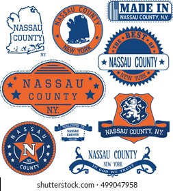 Nassau county, New York. Set of generic stamps and signs including Nassau county map and seal elements.