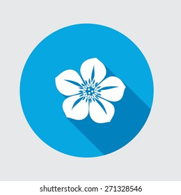 Nasturtium, Hellebore, Caltha flower icons. Spring floral symbol. Round circle flat icon with long shadow. Vector