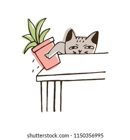 Nasty cat throwing potted plant off table. Amusing naughty kitty dropping houseplant isolated on white background. Disobedient behavior of domestic animal. Colorful hand drawn vector illustration