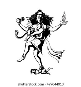 Nataraja, black and white silhouette illustration of dancing indian God Shiva