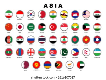 Nation Flag of ASIA Country Vector Circle Style Design
