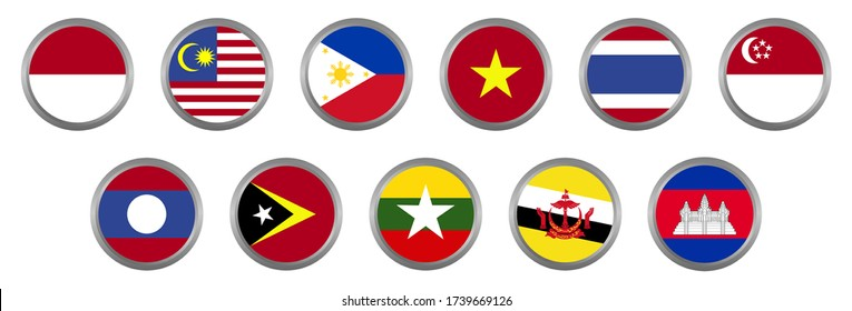 Nation Flag of South East Asia ASEAN Country Vector Circle Style Design