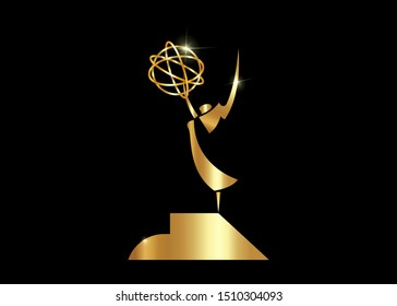 National academy of television, art and sciences. Gold stars prize concept, golden angel. Silhouette statue icon. Films and cinema symbol stock, Academy award vector isolated or black background