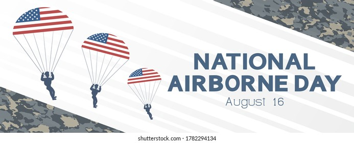 National Airborne Day in the USA concept, banner, greeting card. Annual American professional holiday, vector. USA flag, paratroopers and date 16 August.