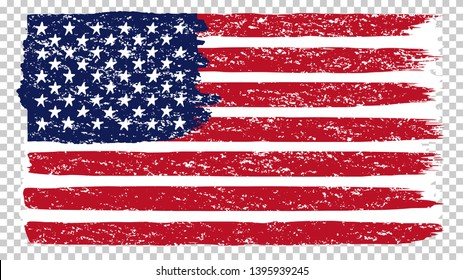 National American flag, transparent background. Brush stroke grunge dirty flag of USA. Hand drawn vector illustration