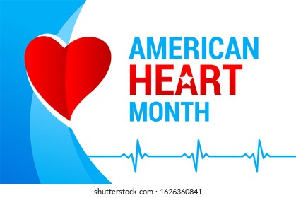 National american heart month banner with logo. Vector illustration ECG graph and red heart for banner, flyer, poster and social medial and hospital use. Heart and cardiology concept design.