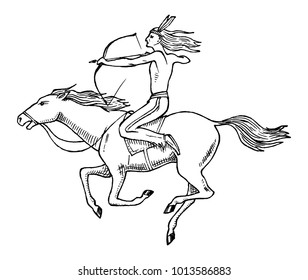 National American Indian riding horse with spear in hand. traditional man. engraved hand drawn in old sketch.