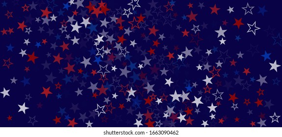 National American Stars Vector Background. USA Independence Memorial 4th of July Veteran's President's 11th of November Labor Day Frame. US Election Design. American Blue, Red, White Falling Stars.