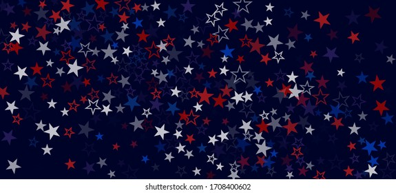 National American Stars Vector Background. USA 4th of July Labor Memorial Independence Veteran's President's 11th of November Day Banner. American Blue, Red, White Falling Stars. US Election Pattern.