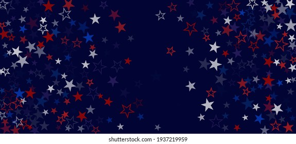National American Stars Vector Background. USA Labor 11th of November President's Independence Veteran's 4th of July Memorial Day Design. American Blue, Red, White Falling Stars. US Election Pattern.