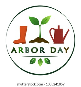 National Arbor Day - creative concept with sprout in circle. Semi flat design. Suitable for greeting card, poster, banner, icon, logo, print, cards, and labels.  Vecror illustration