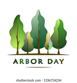 National Arbor Day text - creative concept with forest. Suitable for greeting card, poster and celebration banner, icon, logo, greetings, print, cards, and labels.  Vector illustration