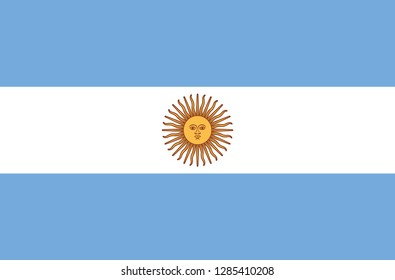 National Argentina flag, official colors and proportion correctly. National Argentina  flag. Vector illustration. EPS10. Argentina  flag vector icon, simple, flat design for web or mobile app.