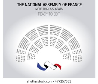 The National Assembly of France. Editable results and seats.